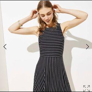 Loft  Dress , Striped fitted waist & Flare Skirt